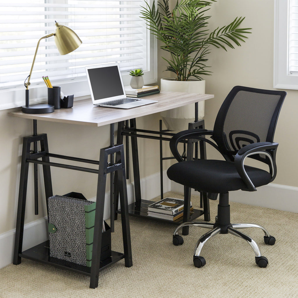 Sit to Stand Office Work Desk w/ Wood Finish, Adjustable Height