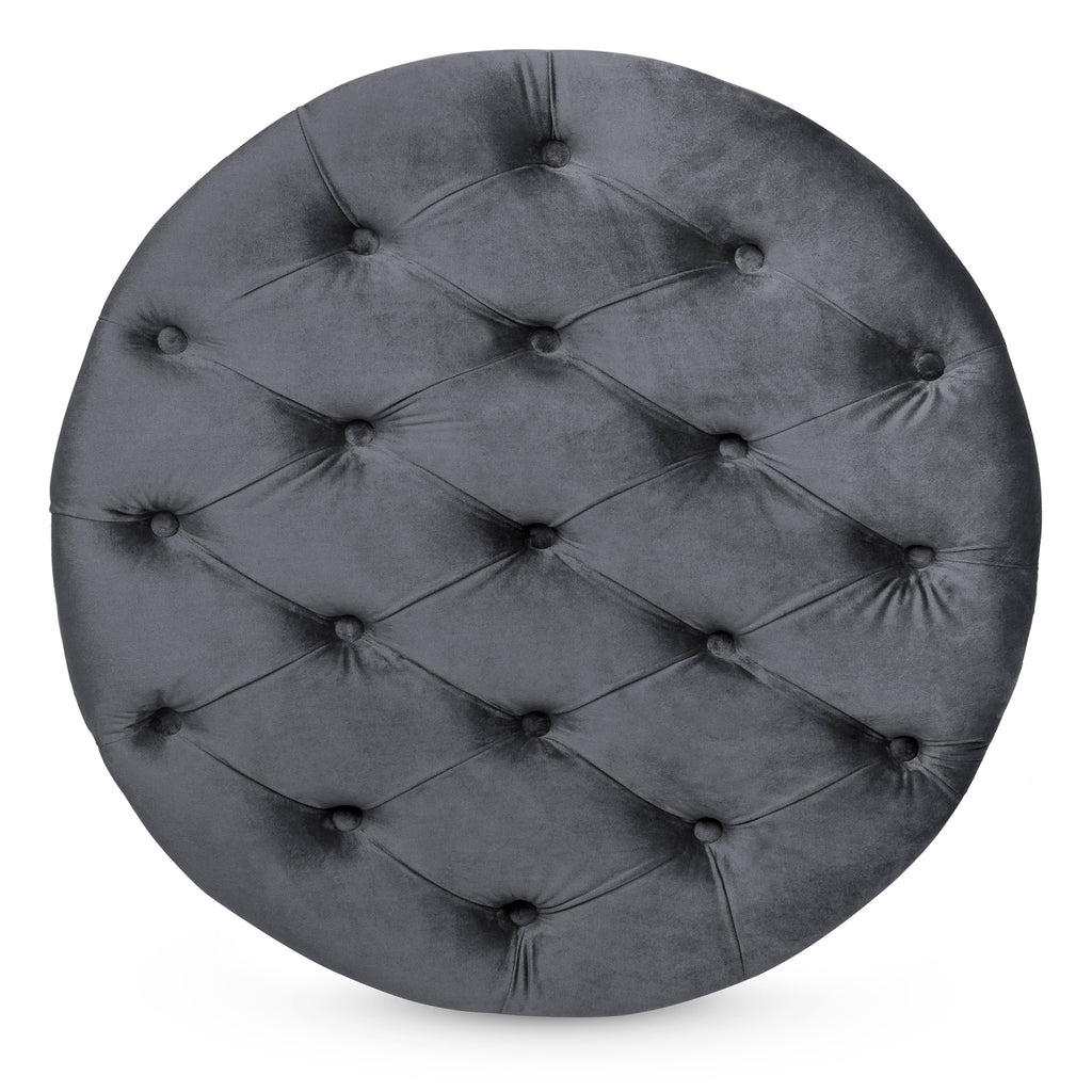 29.5in Round Button-Tufted Upholstered Velvet Footrest Accent Furniture