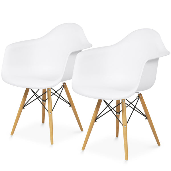 Best Choice Products 2 Set Modern Matte Eames Style Accent Arm Chairs