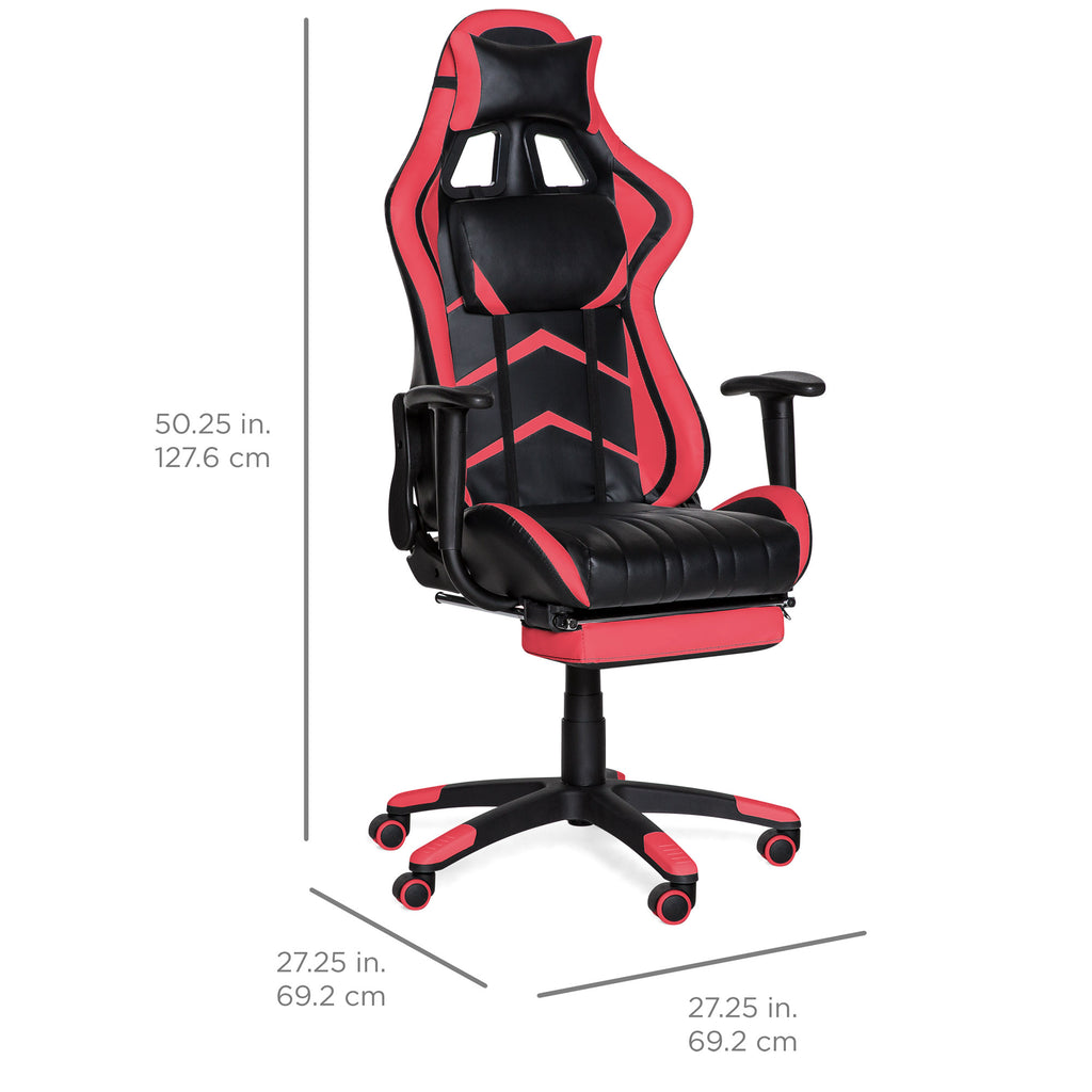 Ergonomic Swivel Reclining Office Gaming Chair w/ Footrest, Lumbar Support