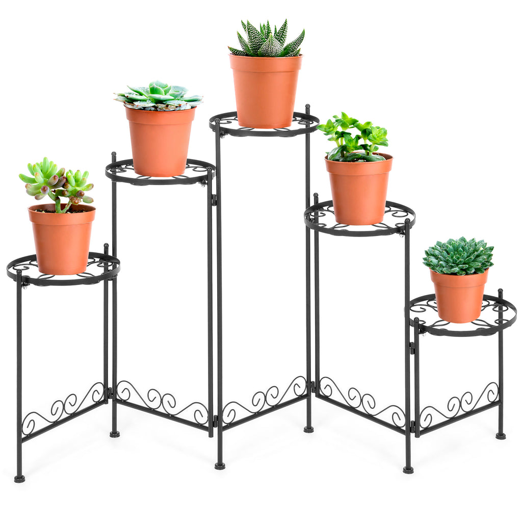5-Tier Multi-Level Adjustable Folding Metal Plant Stand Display, 28in Tall