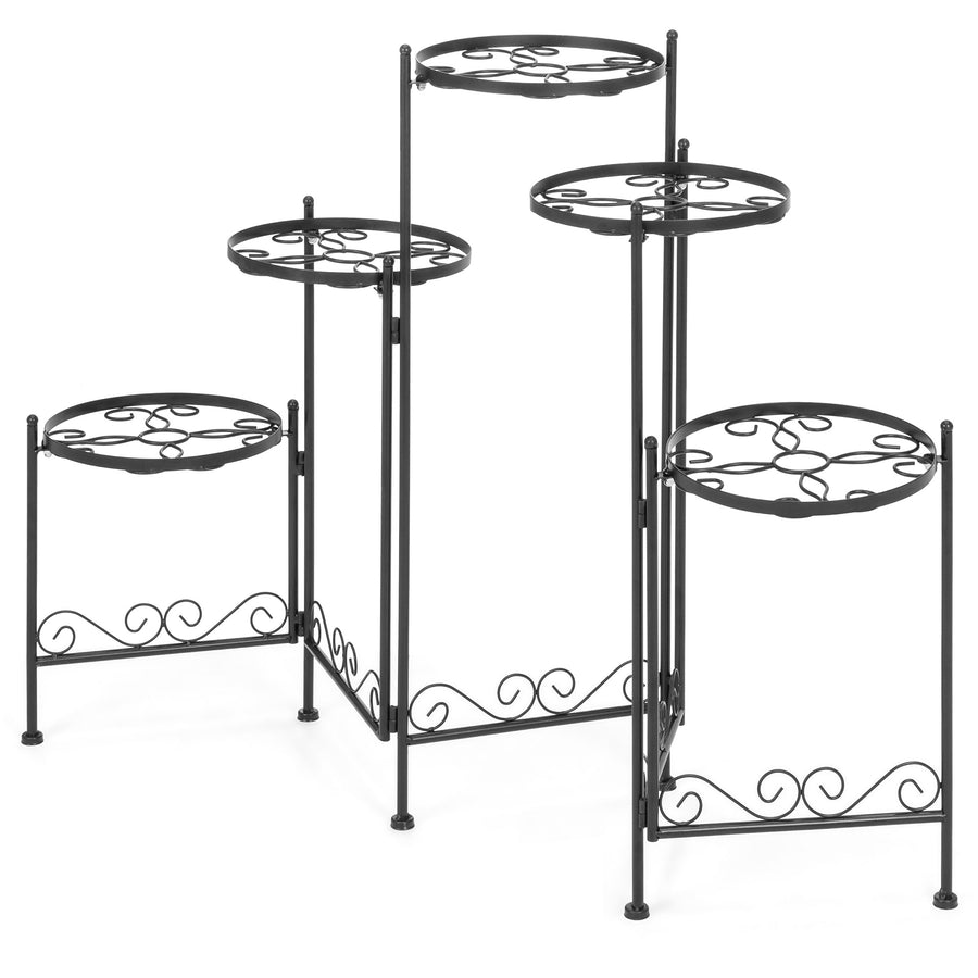 5-Tier Multi-Level Adjustable Folding Metal Plant Stand