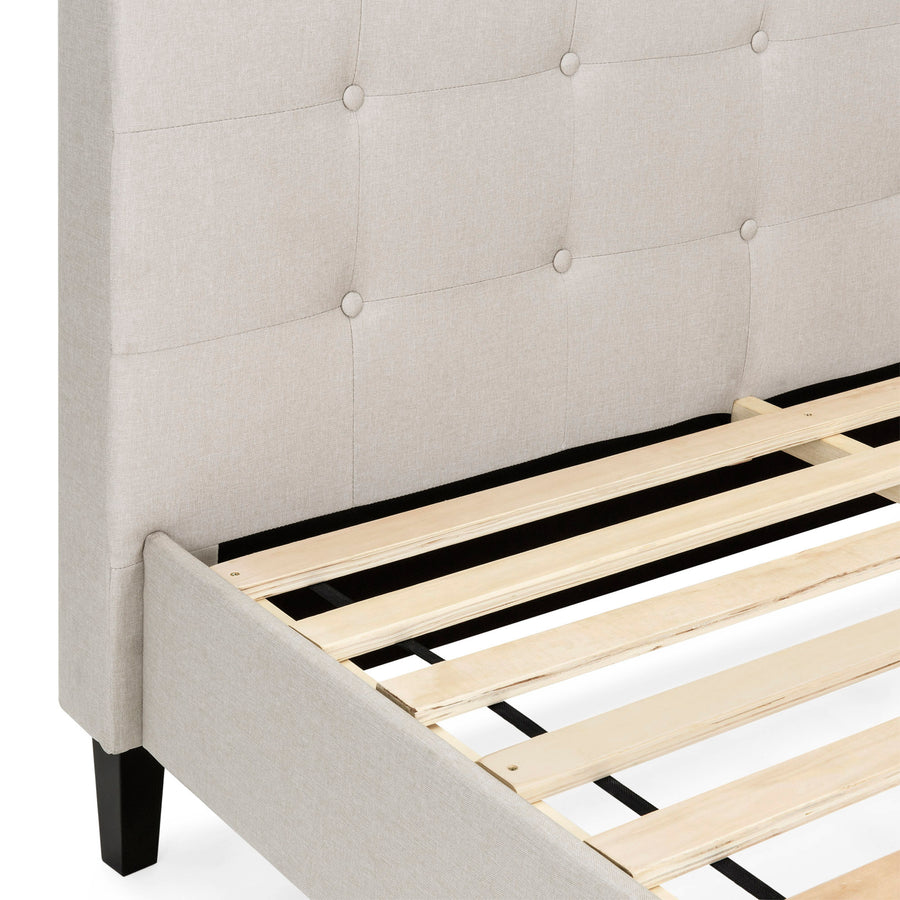 Upholstered Queen Platform Bed w/ Tufted Headboard, Wood Slats