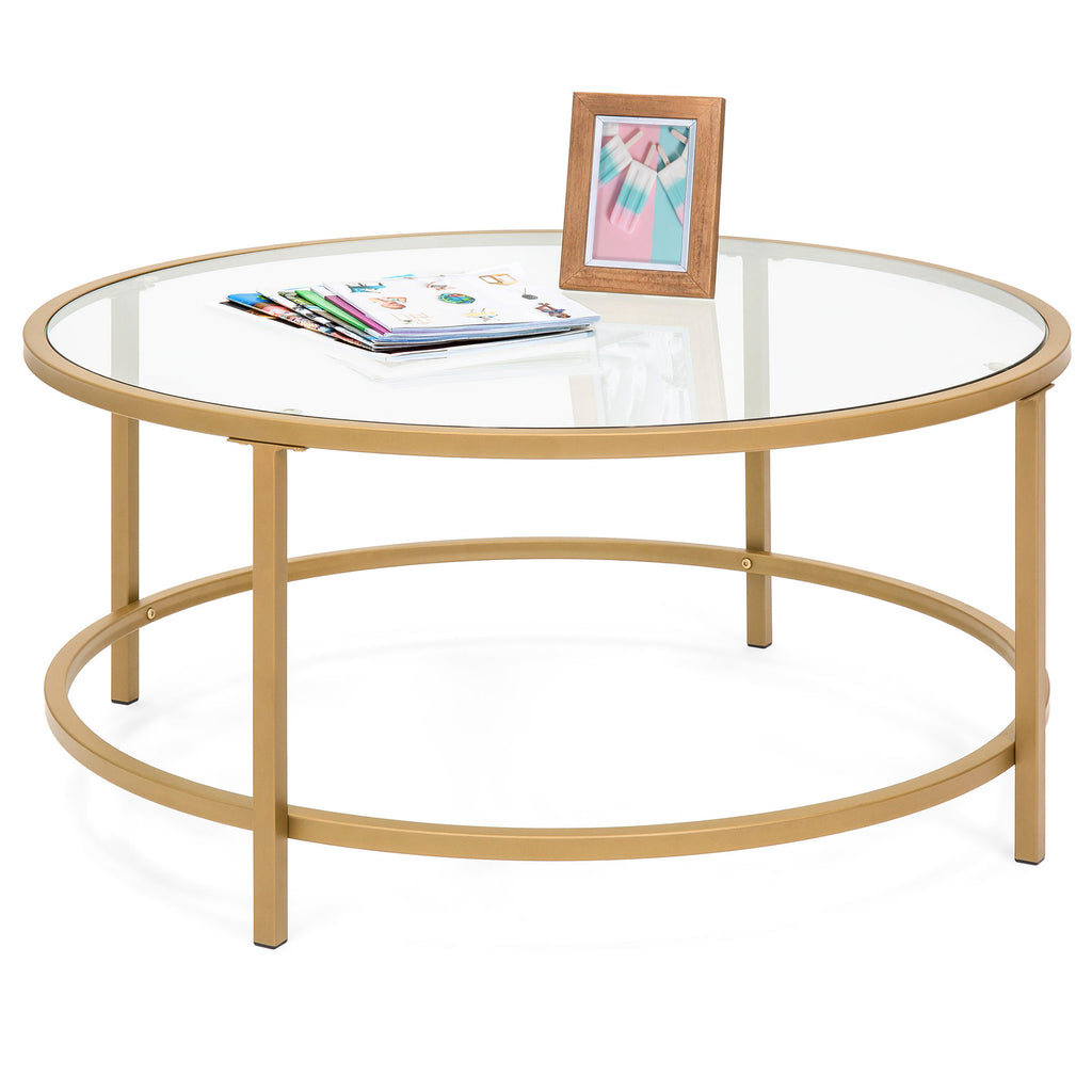 36in Round Glass Coffee Table w/ Satin Gold Trim