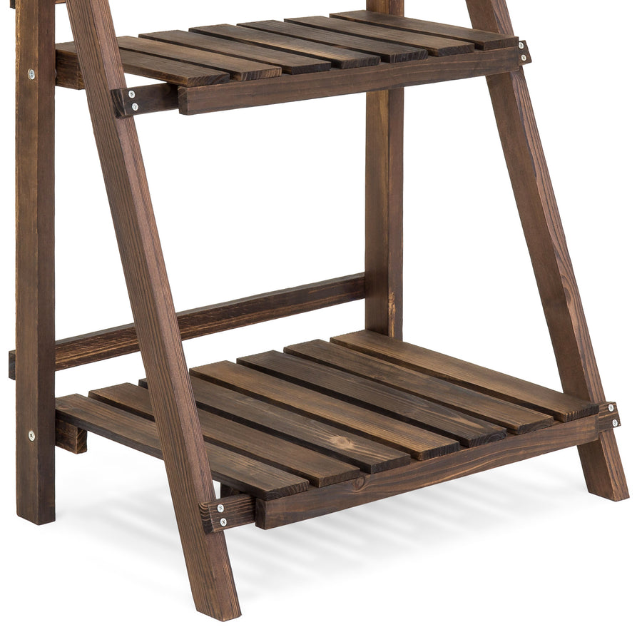 3-Tier Folding Wood Plant Display Stand - Brown