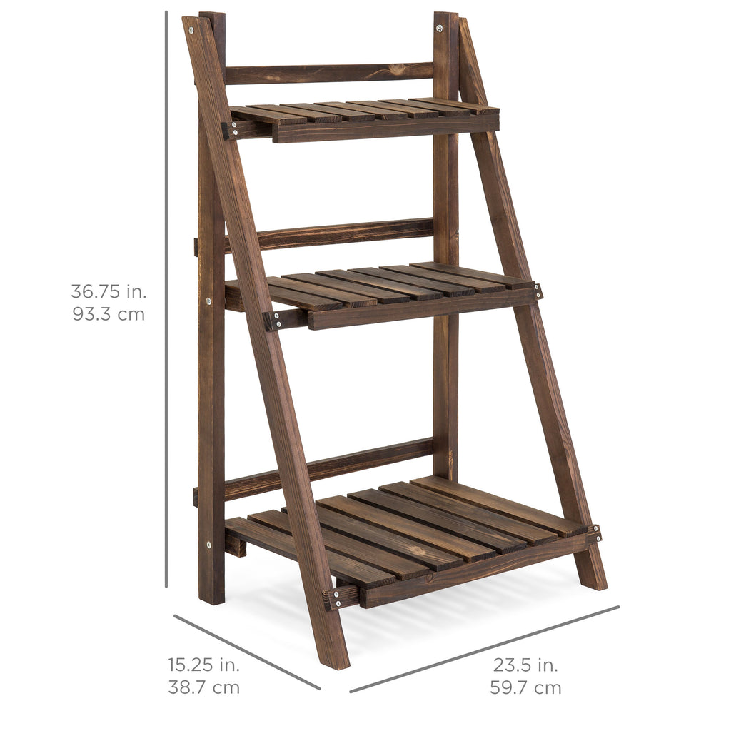 3-Tier Multipurpose Folding Wood Plant Storage Display Rack Stand
