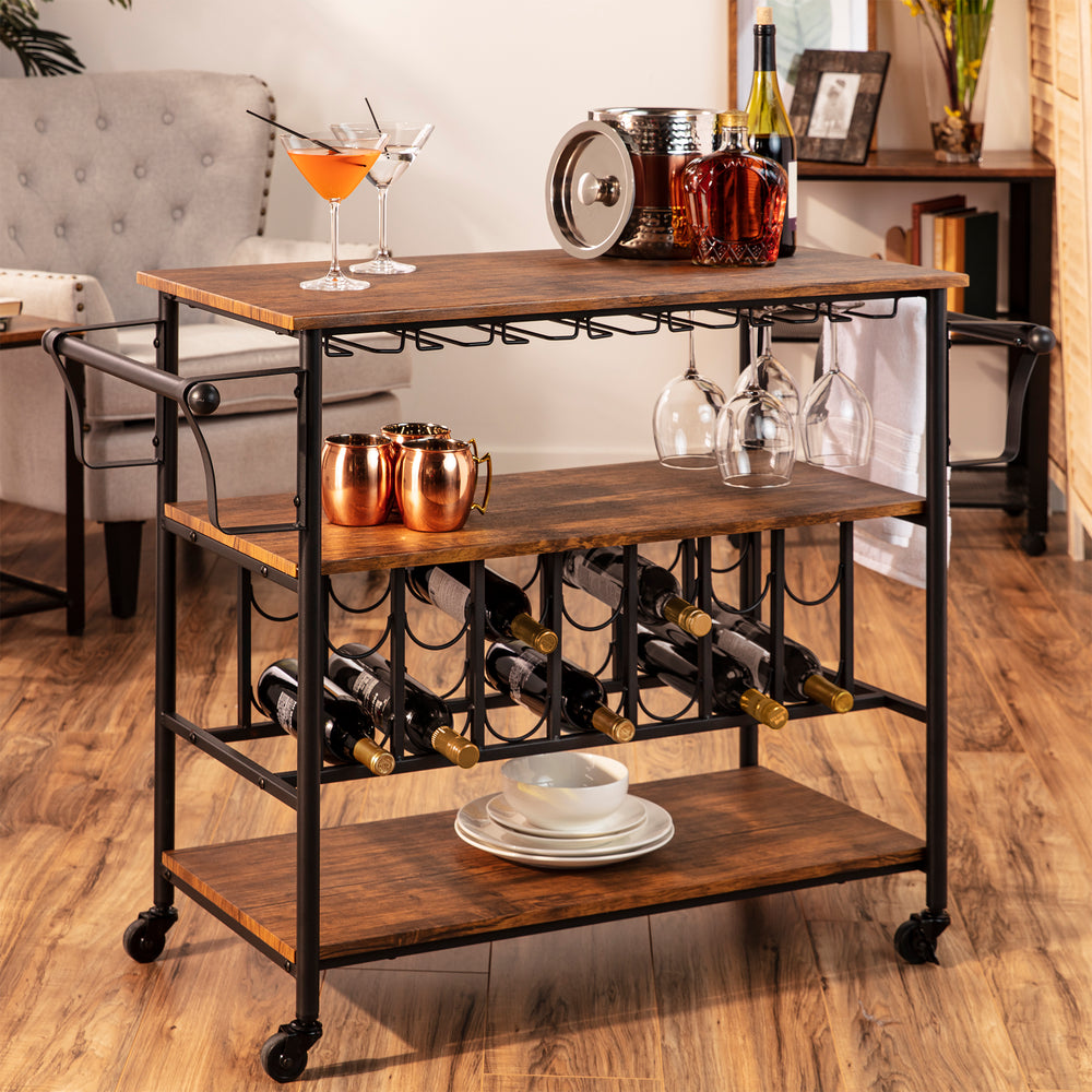 45in Industrial Wood Shelf Bar & Wine Cart w/ Bottle & Glass Racks