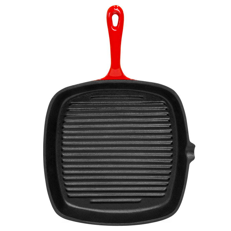Kitchen Cast Iron, Porcelain Enameled Skillet Frying Pan