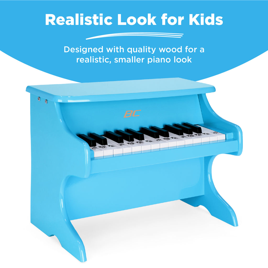 Kids 25-Key Wooden Learn-to-Play Mini Piano w/ Key Note Stickers, Music Book