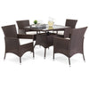 5-Piece Wicker Patio Dining Table Set w/ 4 Chairs - Brown