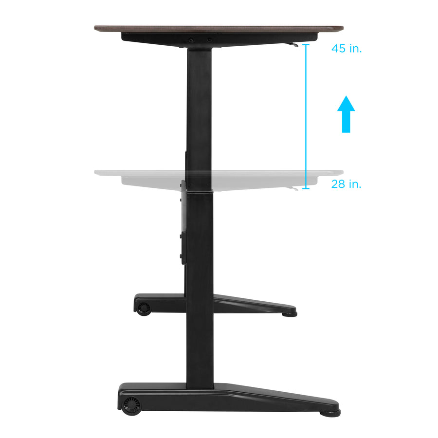 Height Adjustable Standing Desk Sit to Stand Table w/ 59in Tabletop - Walnut