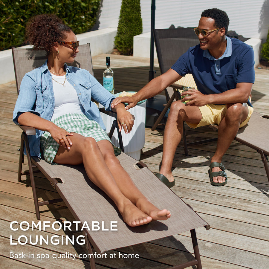 Set Of 2 Outdoor Patio Chaise Recliner Lounge Chairs W Rust Resistant Best Choice Products