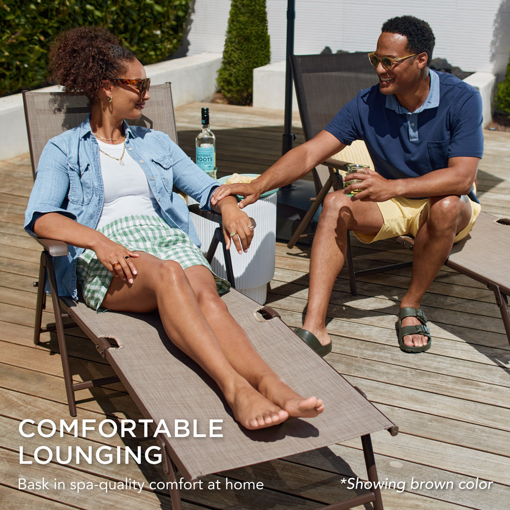 Set of 2 Outdoor Patio Chaise Recliner Lounge Chairs w/ Rust-Resistant Frame