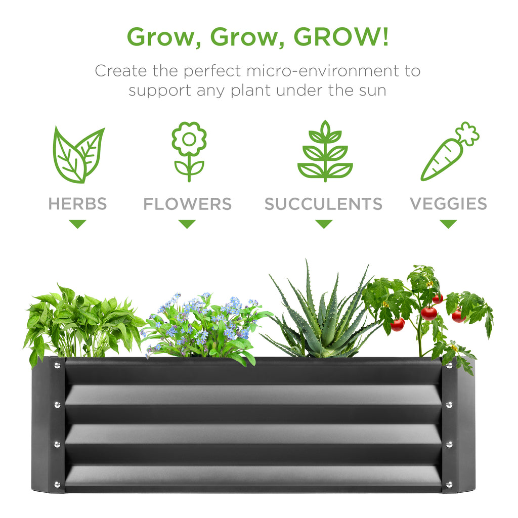 4x3x1ft Outdoor Metal Raised Garden Bed for Vegetables, Flowers, Herbs