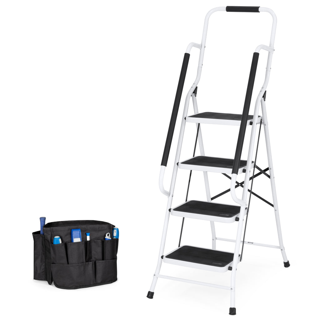 4-Step Portable Folding Ladder w/ Handrails, Tool Bag