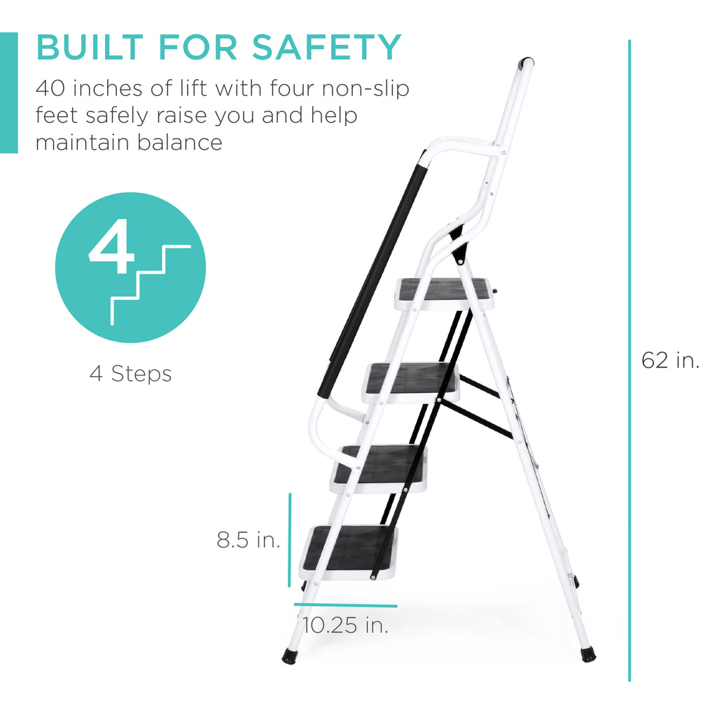 4-Step Portable Folding Safety Ladder w/ Handrails, Attachable Tool Bag