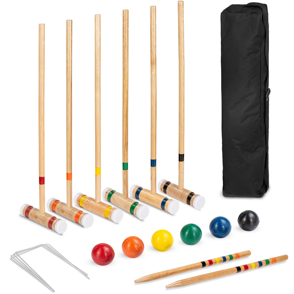 6-Player Wood Croquet Set w/ 6 Mallets, 6 Balls, Wickets, Stakes, Bag - 32in