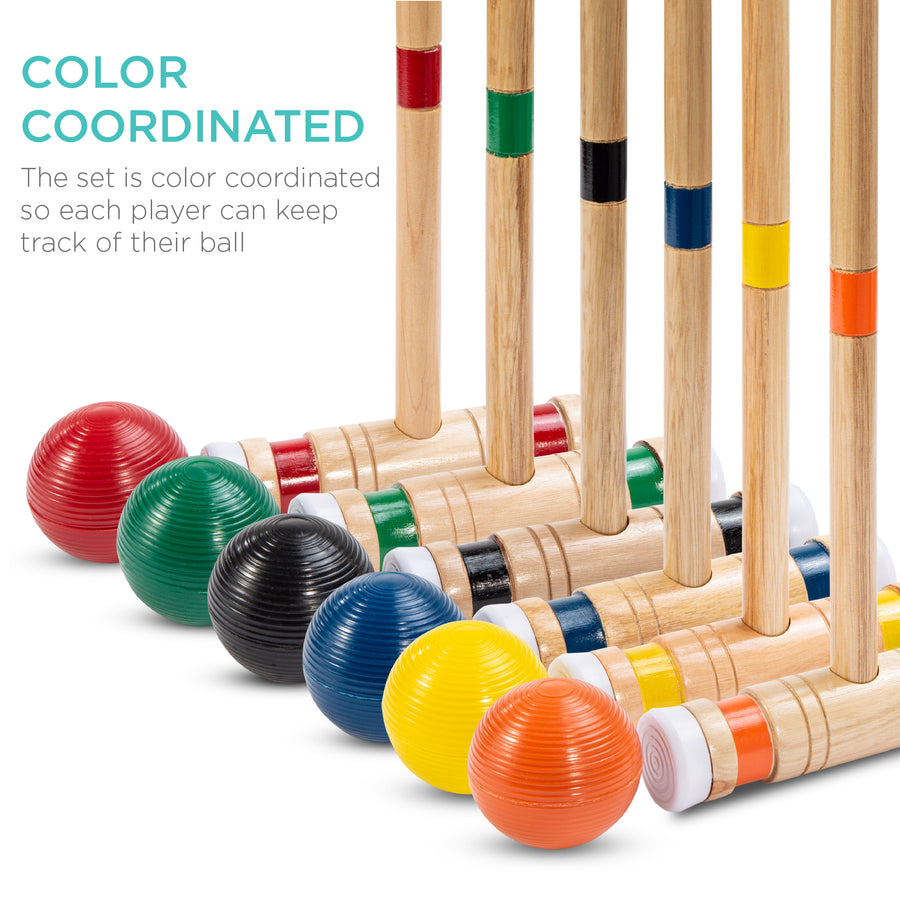 6-Player 32in Wood Classic Croquet Yard Game Set w/ Carrying Case