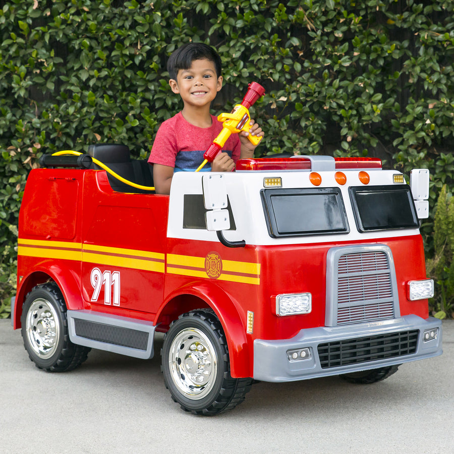 12V Kids Police Fire Engine Ride On Truck w/ Remote Control, Water Hose