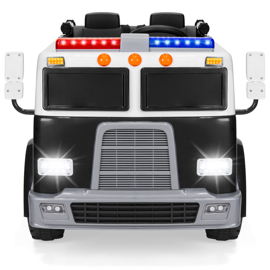 12V Kids Police Truck Ride On w/ Remote Control, Siren - Black
