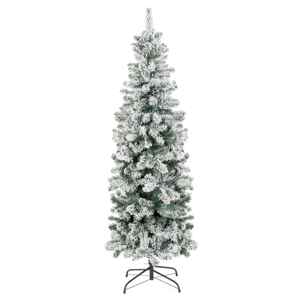 Snow Flocked Artificial Pencil Christmas Tree w/ Stand