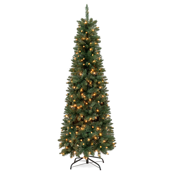 6.5ft Pre-Lit Hinged Fir Artificial Pencil Christmas Tree w/ Stand