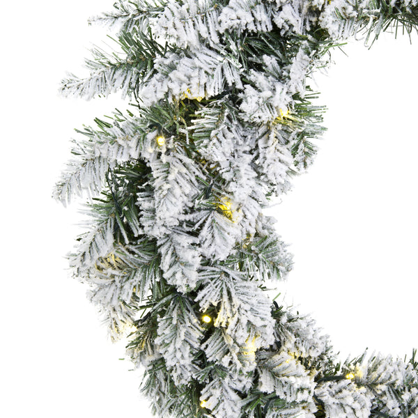 24in Pre-Lit Artificial Flocked Christmas Pine Wreath w/ 50 White LED Lights