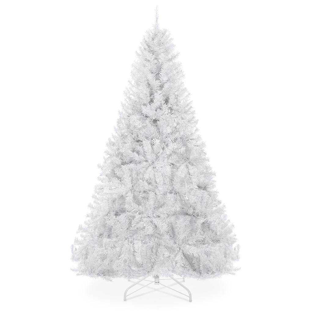 6ft Hinged Artificial Christmas Pine Tree w/ Metal Stand - White