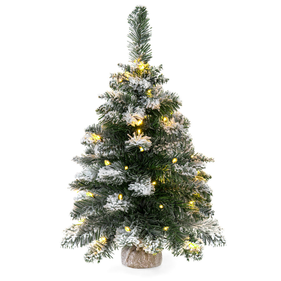 24in Pre-Lit Snow Flocked Tabletop Christmas Tree w/ 30 LED Lights ...