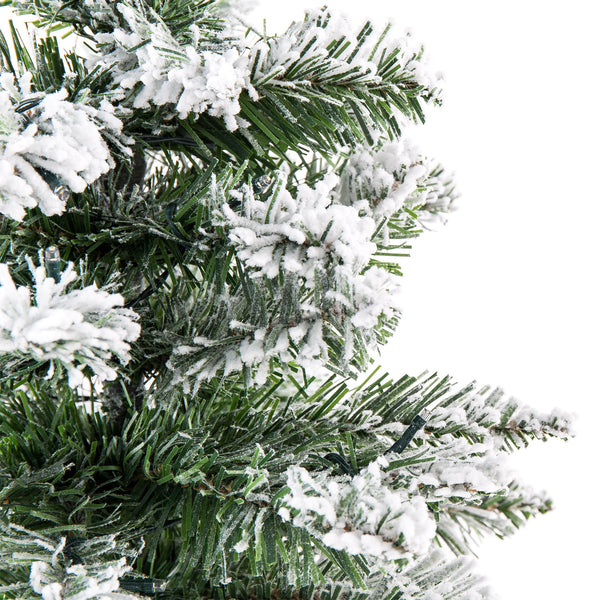 24in Pre-Lit Snow Flocked Tabletop Christmas Tree w/ 30 LED Lights, Timer