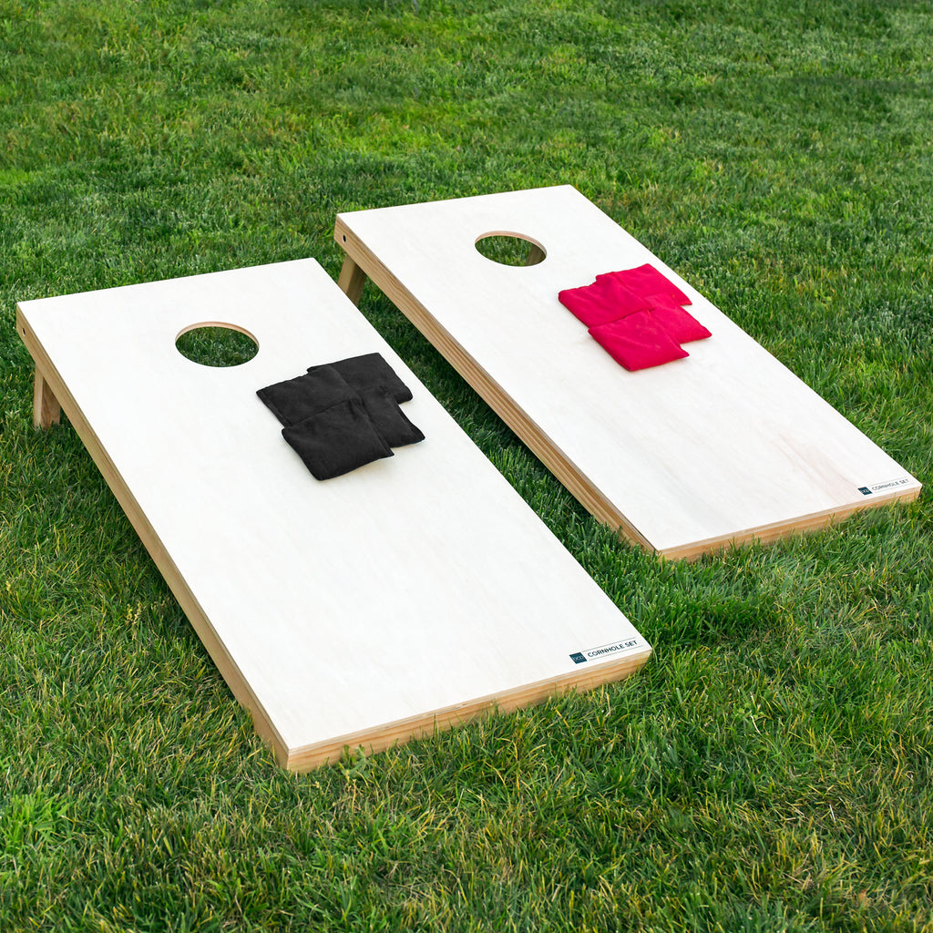 4x2ft Full Size Solid Wood Cornhole Set w/ 8 Bean Bags, Carry Bag