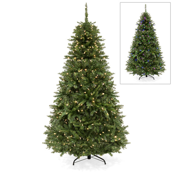 6ft Hinged Fir Christmas Tree w/ 450 Color Changing Lights, 8 Settings