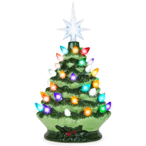c191e13e5b0 9.5in Pre-Lit Hand-Painted Ceramic Tabletop Christmas Tree