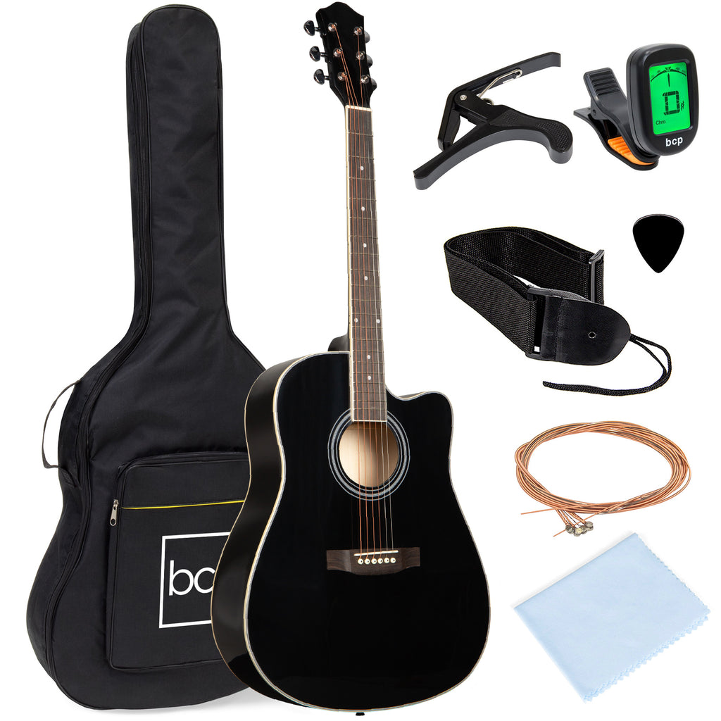 Full Size Beginner Acoustic Guitar Set with Case, Strap, Capo - 41in