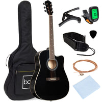 Deals on BCP 41-in Acoustic Cutaway Guitar Set w/Case, Pick, Strings