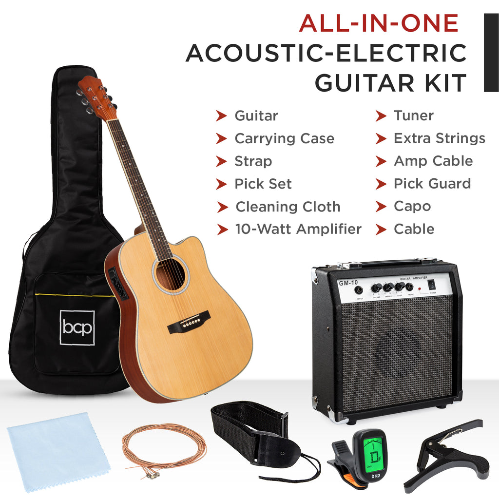 41in Full Size Acoustic Electric Cutaway Guitar Set w/ 10-Watt Amp, Case