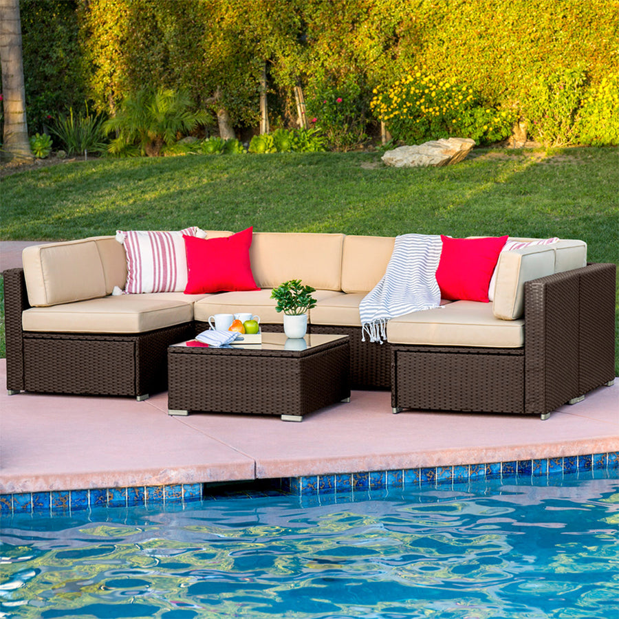 7-Piece Wicker Sectional Sofa - Brown
