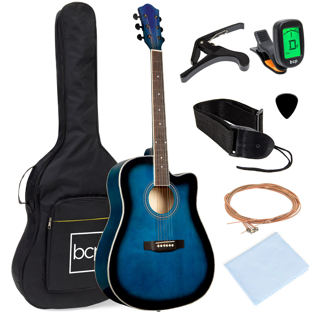41in Full Size Beginner Acoustic Cutaway Guitar Set w/ Case, Capo, Tuner