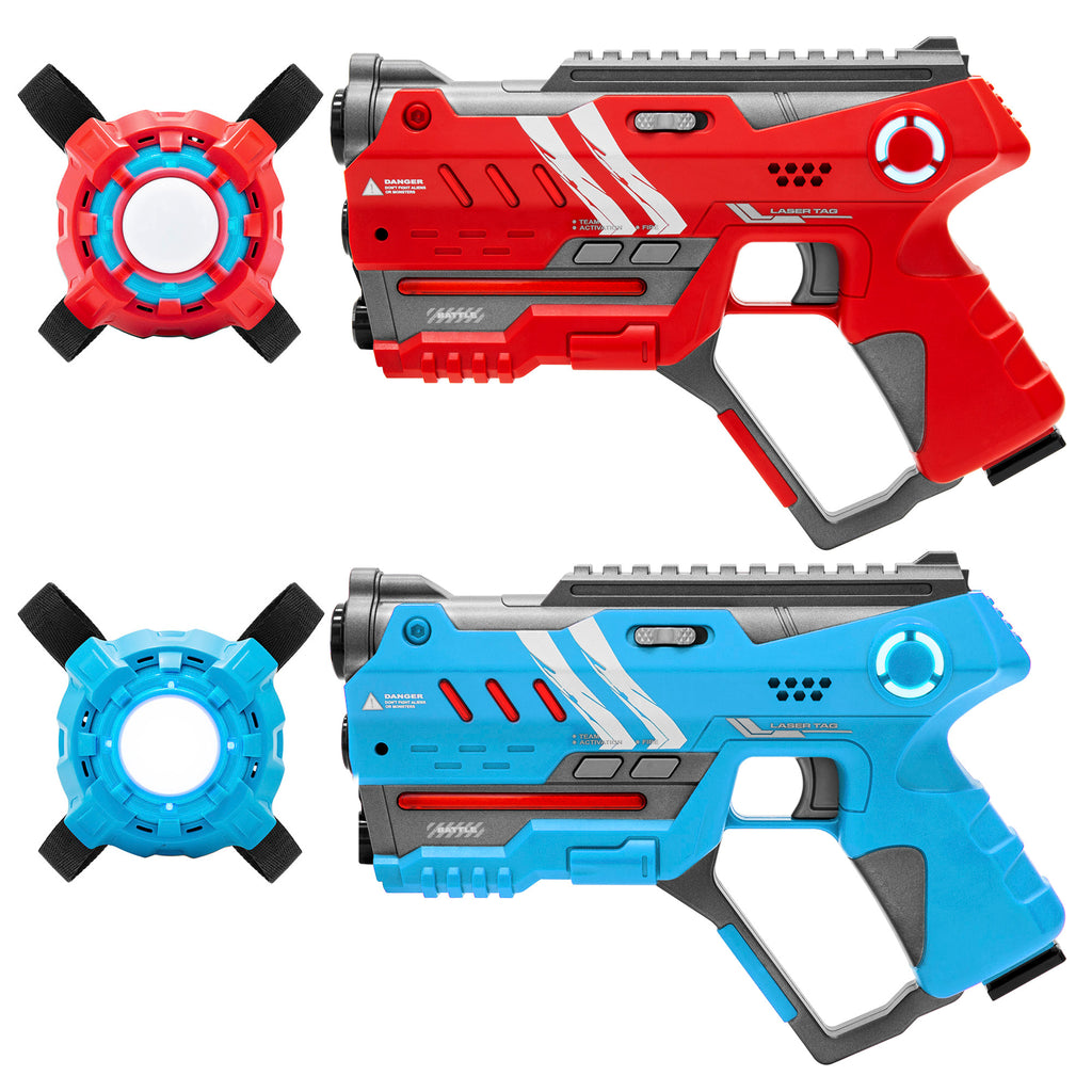 Set of 2 Blaster Laser Tag Toys w/ Vests - Red/Blue