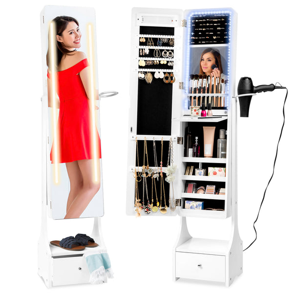 Standing Full Length Led Mirror Jewelry Armoire W Interior
