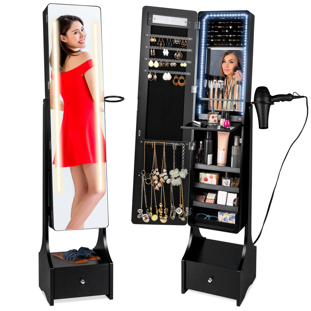 Standing Full Length LED Mirror Jewelry Armoire w/Interior & Exterior Lights