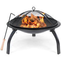 Deals on BCP 22in Folding Steel Fire Pit Bowl w/Mesh Cover