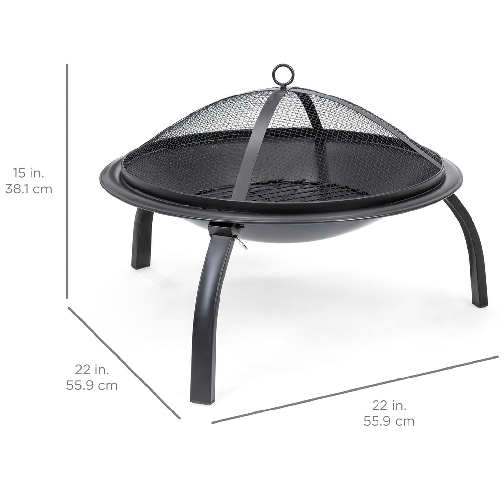 22in Folding Steel Fire Pit Bowl w/ Mesh Cover, Poker