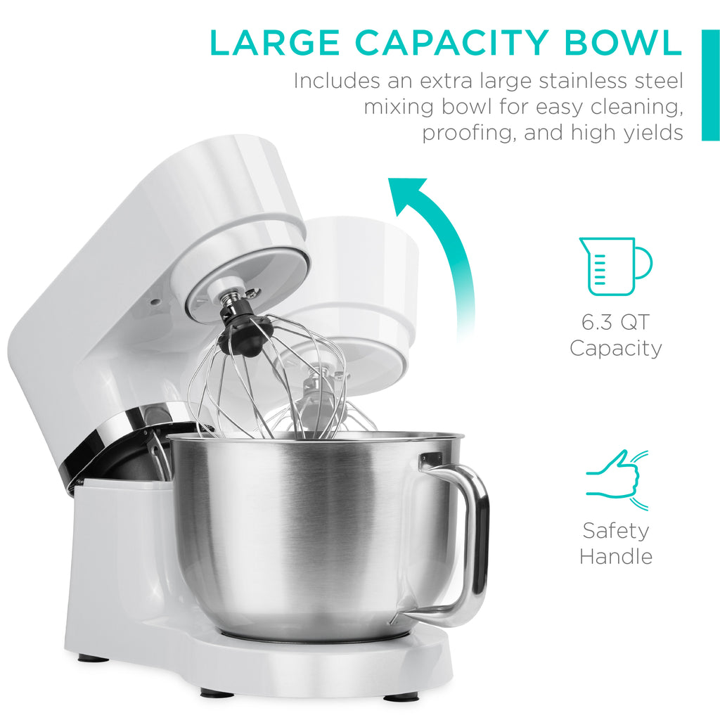 660W 6-Speed 6.3qt Stainless Steel Kitchen Stand Mixer w/ 3 Attachments