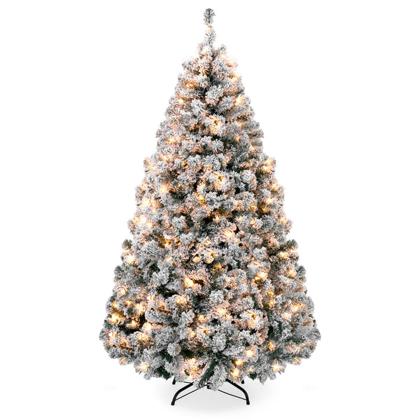 6ft Snow Flocked Pre-Lit Artifical Pine Christmas Tree w/ Warm White Lights