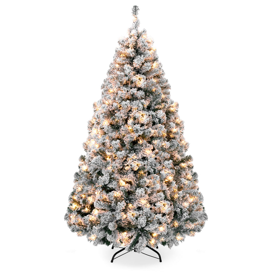 Best Choice Pre-Lit Snow Flocked Artificial Pine Christmas Tree