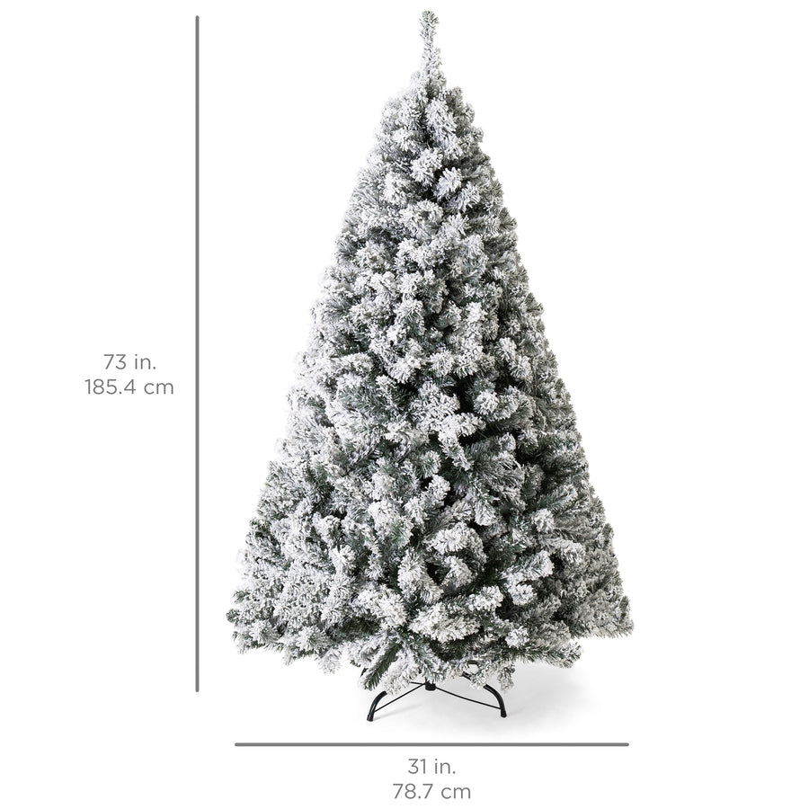 6ft Snow Flocked Pre-Lit Artifical Pine Christmas Tree w/ Warm White ...