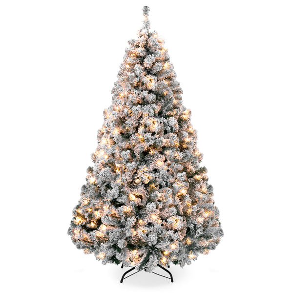 7.5ft Snow Flocked Pre-Lit Artifical Pine Christmas Tree w/Warm White Lights