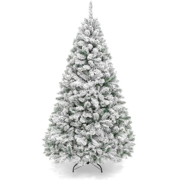 9ft Snow Flocked Hinged Artifical Pine Christmas Tree w/ Metal Stand