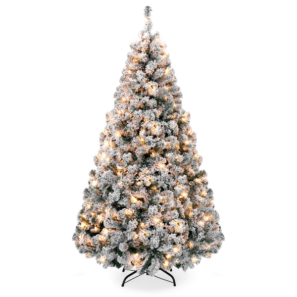 9ft Snow Flocked Pre-Lit Artifical Pine Christmas Tree w/ Warm White Lights